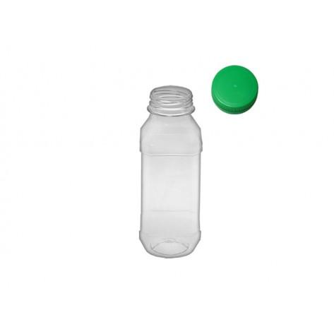 PET Fresh bottle, square, 0,3l + zelen zamašek, set 294 kos